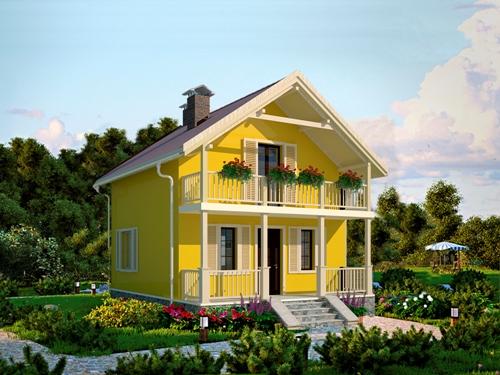 Общий вид проекта дома с мансардой 66 кв.м