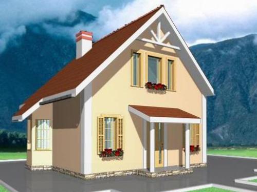 Общий вид проекта дома с мансардой 69 кв.м