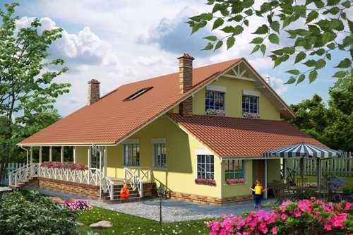 Общий вид проекта мансардного дома 189 кв.м