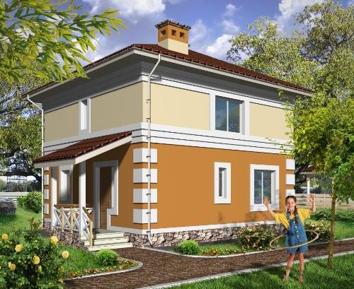 Общий вид проекта двухэтажного дома 93 кв.м