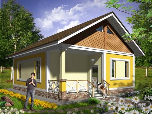 Общий вид проекта одноэтажного дома 62 кв.м