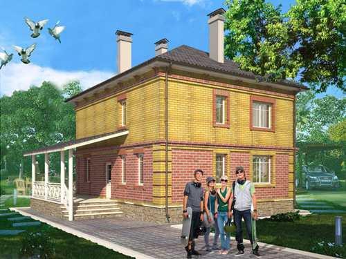 Общий вид проекта двухэтажного дома 141 кв.м