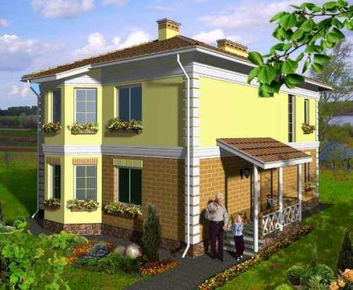 Общий вид проекта двухэтажного дома 143 кв.м