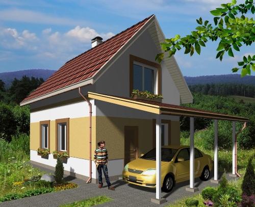 Общий вид проекта дома с мансардой 71 кв.м