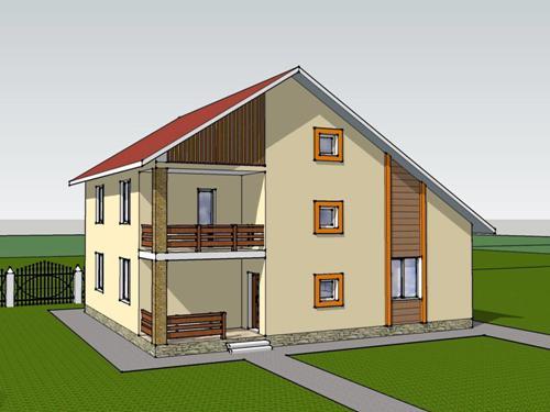 Общий вид проекта двухэтажного дома 183 кв.м