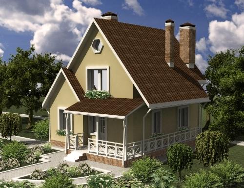 Общий вид проекта мансардного дома 83 кв.м