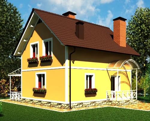 Общий вид проекта мансардного дома 95 кв.м