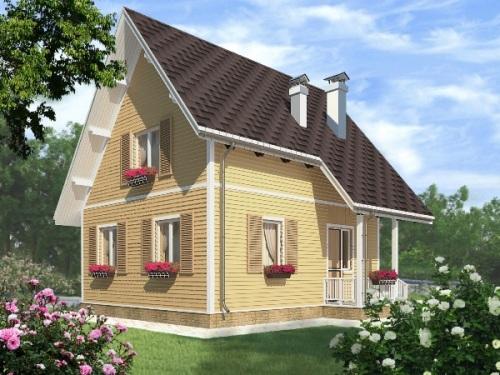 Общий вид проекта мансардного дома 84 кв.м.