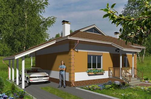 Общий вид проекта одноэтажного дома 65 кв.м