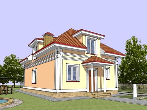 Общий вид проекта мансардного дома 141 кв.м