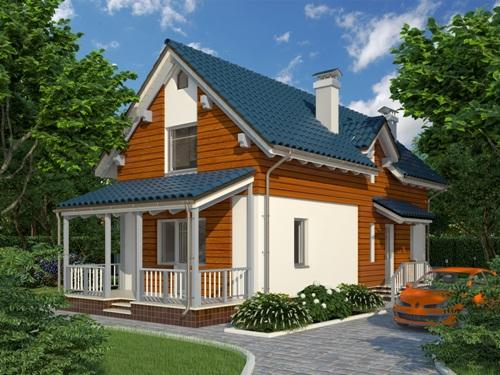 Общий вид проекта дома с мансардой 119 кв.м