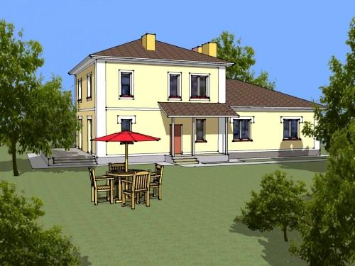 Общий вид проекта двухэтажного дома 201 кв.м