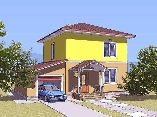 Общий вид проекта двухэтажного дома 112 кв.м