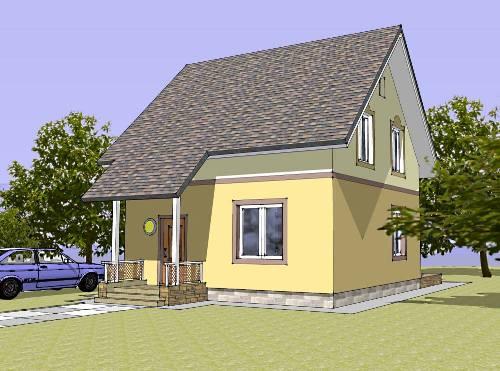 Общий вид проекта мансардного дома 89 кв.м