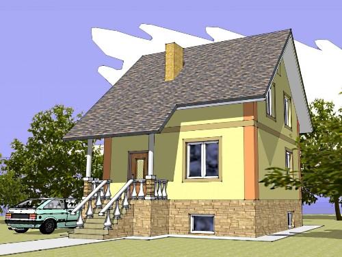 Общий вид проекта дома с мансардой 131 кв.м