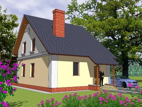 Общий вид проекта дома с мансардой 102 кв.м