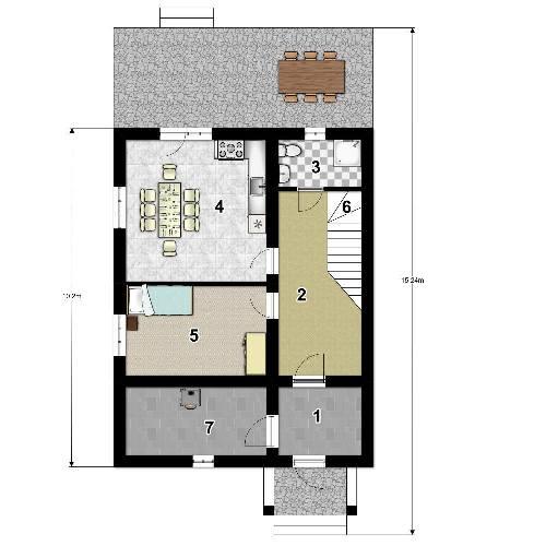 План первого этажа проекта дома с мансардой 102 кв.м