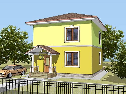 Общий вид проекта двухэтажного дома 89 кв.м