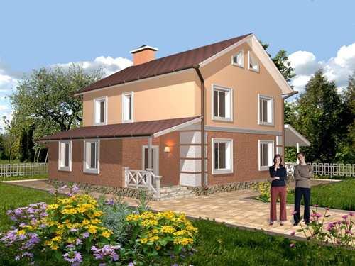 Общий вид проекта  двухэтажного дома 177 кв.