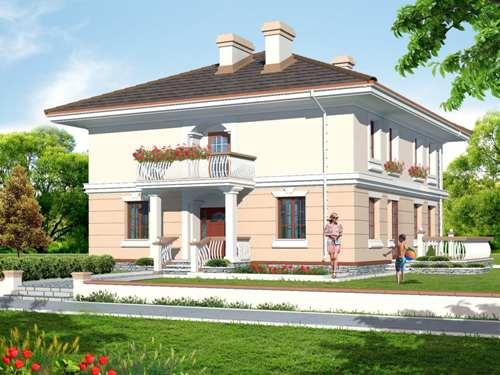 Общий вид проекта двухэтажного дома 208 кв.м