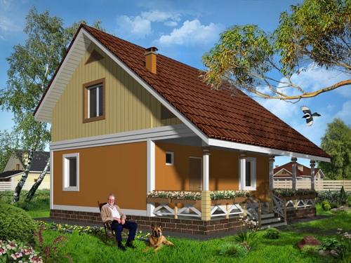 Общий вид проекта дома с мансардой 77 кв.м