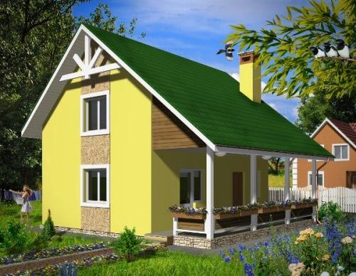 Общий вид проекта дома с мансардой 73 кв.м