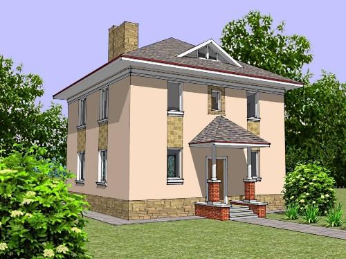 Общий вид проекта двухэтажного дома 130 кв.м.