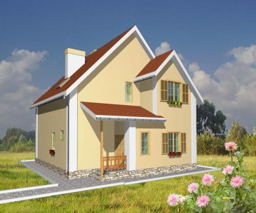 Общий вид проекта дома с мансардой 120 кв.м