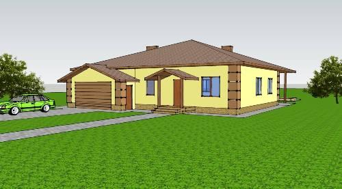 Общий вид проекта одноэтажного дома 166 кв.м
