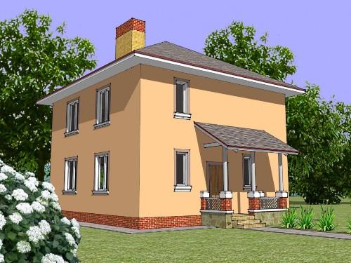 Общий вид проекта двухэтажного дома 128 кв.м.