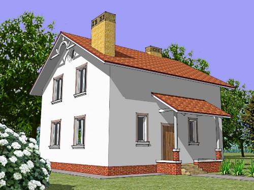 Общий вид проекта мансардного дома 128 кв.м