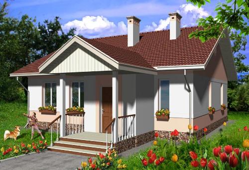 Общий вид проекта одноэтажного дома 86 кв.м