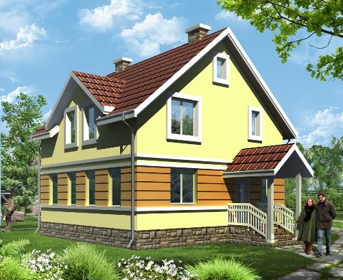 Общий вид проекта дома с мансардой 113 кв.м