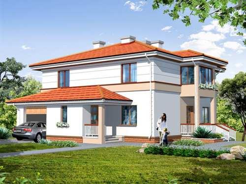 Общий вид проекта двухэтажного дома 194 кв.м