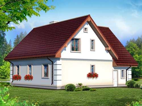 Общий вид проекта мансардного дома 192 кв.м