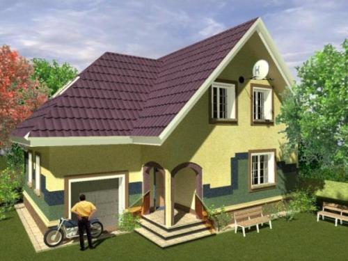 Общий вид проекта мансардного дома 181 кв.м
