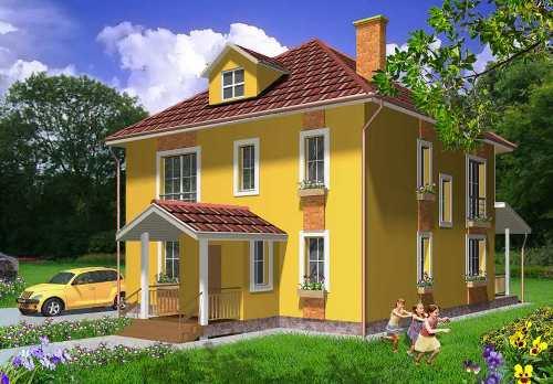 Общий вид проекта двухэтажного дома 148 кв.м