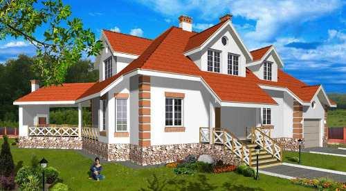 Общий вид проекта мансардного дома 350 кв.м