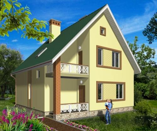 Общий вид проекта мансардного дома 132 кв.м