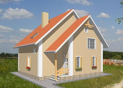 Общий вид проекта мансардного дома 131 кв.м
