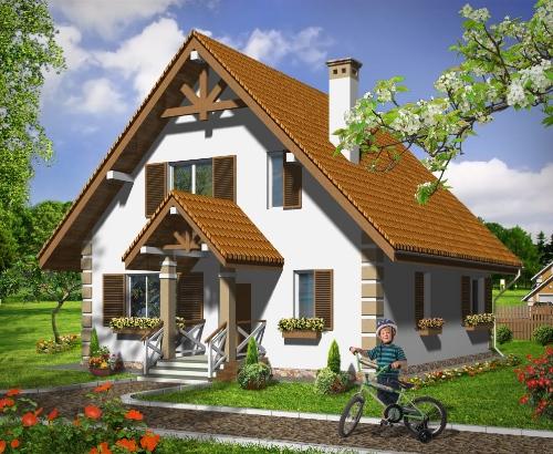Общий вид проекта дома с мансардой 114 кв.м