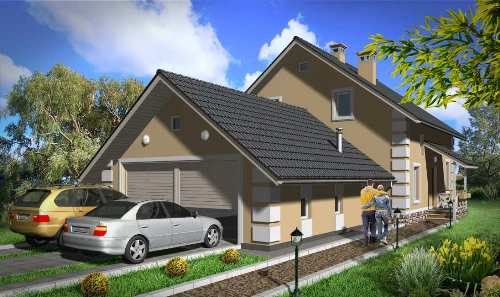 Общий вид проекта мансардного дома 185 кв.м