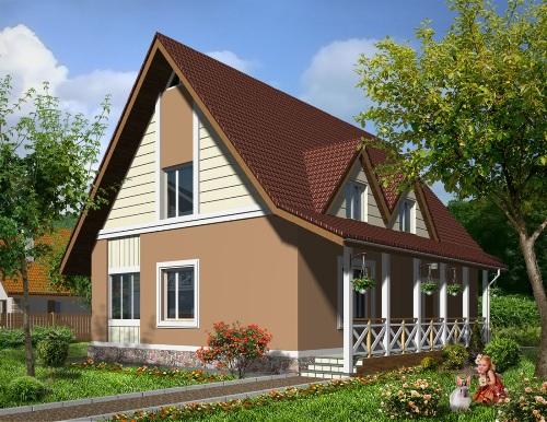 Общий вид проекта дома мансардой 127 кв.м