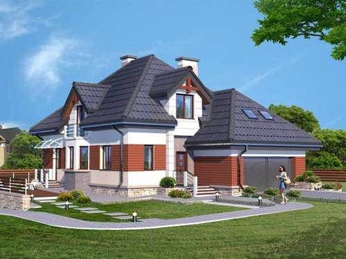 Общий вид мансардного дома 327 кв.м