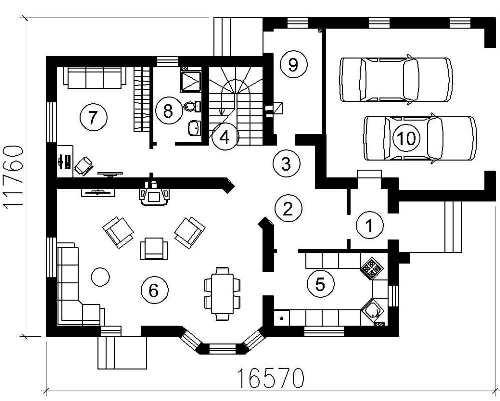 План 1 этажа мансардного дома