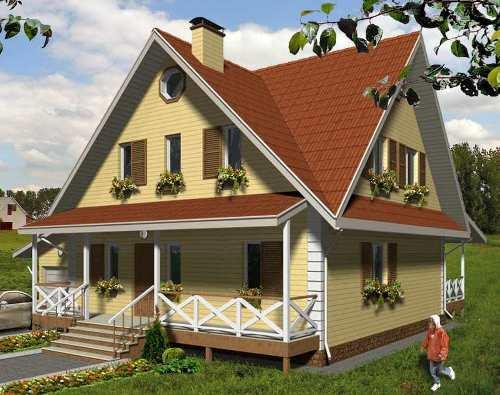 Общий вид проекта мансардного дома 165 кв.м