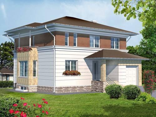 Общий вид проекта двухэтажного дома 270 кв.м