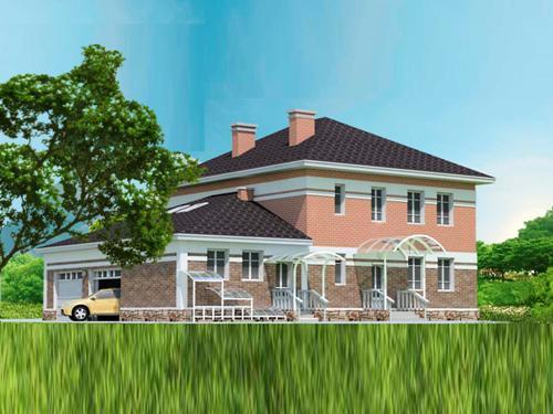 Общий вид проекта двухэтажного дома 277 кв.м