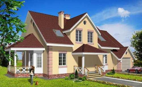 Общий вид проекта мансардного дома 261 кв.м