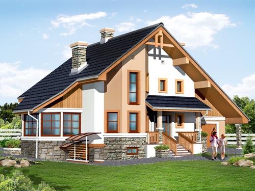 Общий вид проекта мансардного дома 241 кв.м